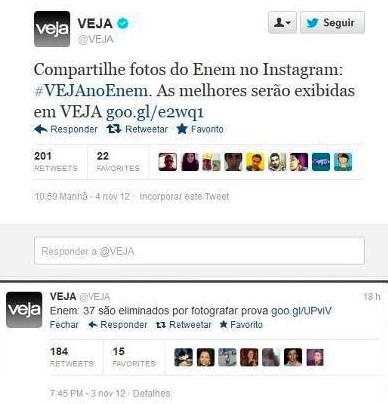 """Revista """"Veja"""" pede fotos do Enem"""