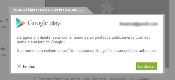 Mensagem apresentada na Google Play (web)