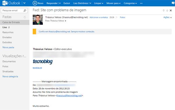 Recurso de arquivar vai aparecer naquela barra no topo do Outlook.com