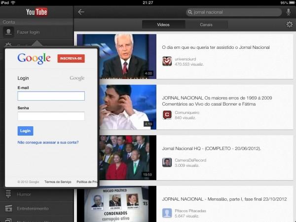 Login com a conta Google permite ver canais inscritos