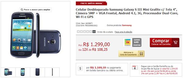 14093cb20f0 Samsung lança Galaxy S III Mini com tela de 4 polegadas –