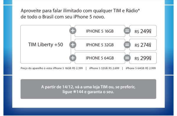TIM informa preços em newsletter para interessados