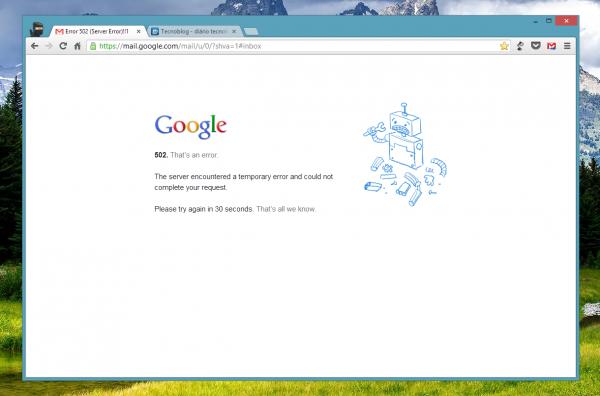Gmail fora do ar às 15h05