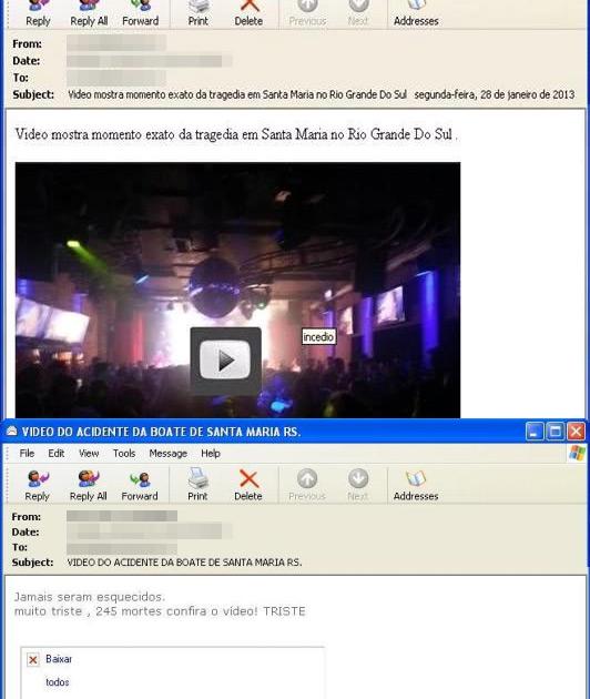Emails oferecem suposto vídeo da tragédia