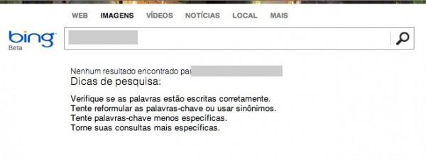 Bing não retorna mais resultados