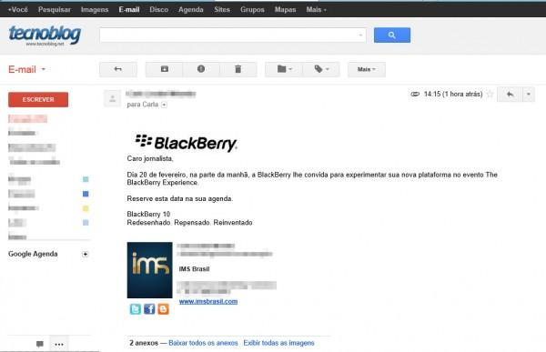 Convite recebido pela redação do Tecnoblog