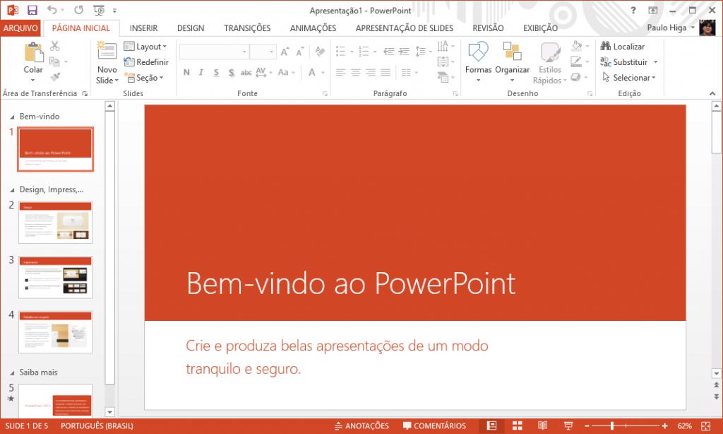 PowerPoint 2013 rodando no Windows