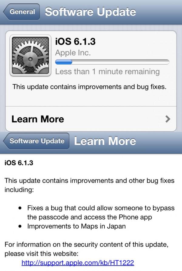 iOS 6.1.3: buraco tapado.