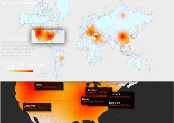 Sistema de monitoramento de ataques da Akamai: 123% acima do normal.
