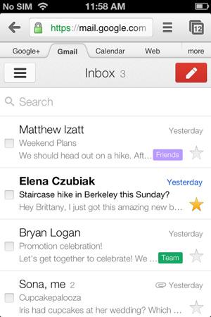 Gmail para dispositivos móveis