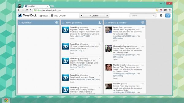 TweetDeck na web