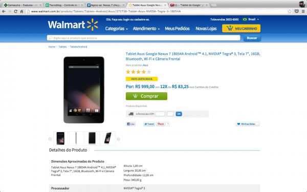 Nexus 7: R$ 999 no site do Walmart