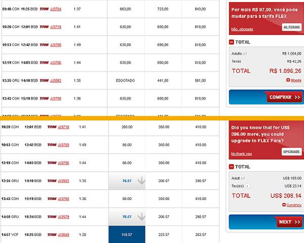 Preços para brasileiros e para estrangeiros, em dólar