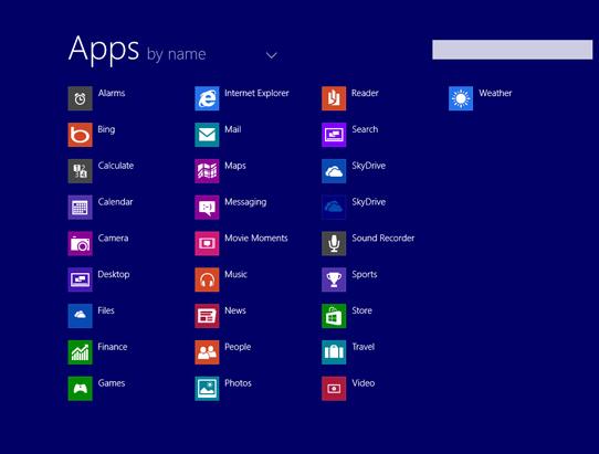 Esta tela lista todos os aplicativos instalados