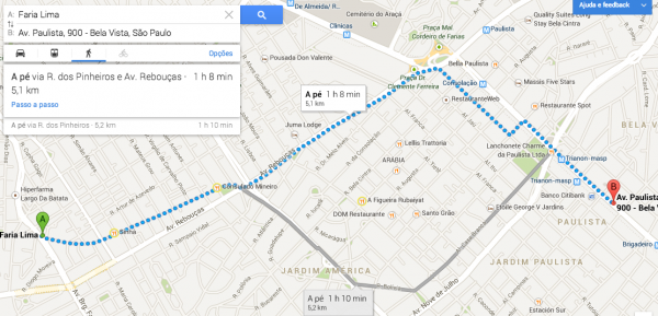 Menor distância entre o ponto de encontro, no metrô Faria Lima, e a Avenida Paulista, que dispensa apresentações – porque eu não lembro a trajeto exato que eu fiz