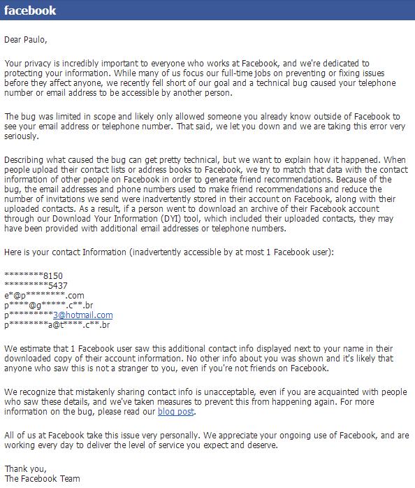 Email do Facebook enviado a este que vos escreve