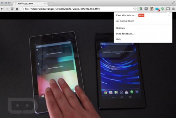 Com o local do vídeo no navegador, ele é exibido via Chromecast