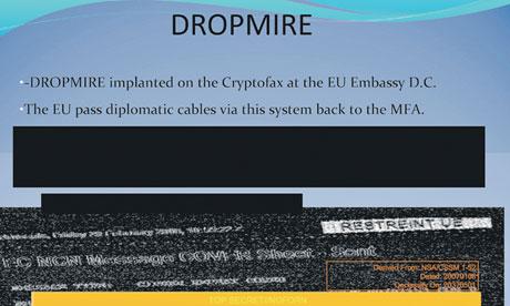 Slide informa que instalaram uma escuta na embaixada da UE.