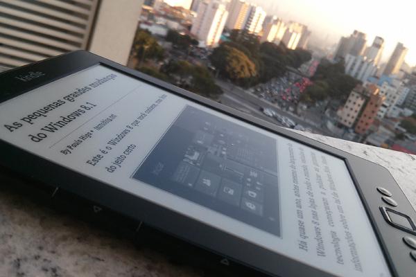Matéria do Higa sobre Windows Phone 8.1 na tela do Kindle == ♥