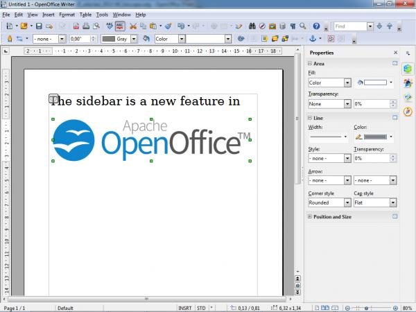 Sidebar do OpenOffice 4.0