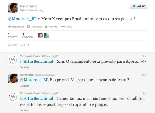 Resposta da Motorola BR via Twitter (imagem: reprodução)