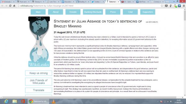Declaração de Assange no WikiLeaks