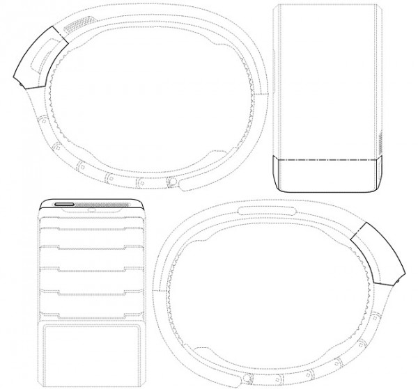 Ilustração da patente mostra uma tela curvada - não flexível