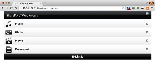 SharePort Web Access, onde se controla os arquivos no DIR-505