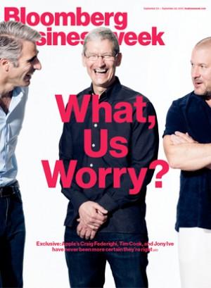 """Capa da """"Businessweek"""" com o trio da maçã"""