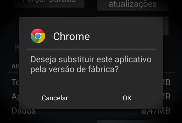 Chrome - Deseja substituir