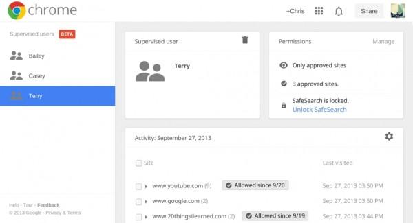 Usuários supervisionados no Chrome