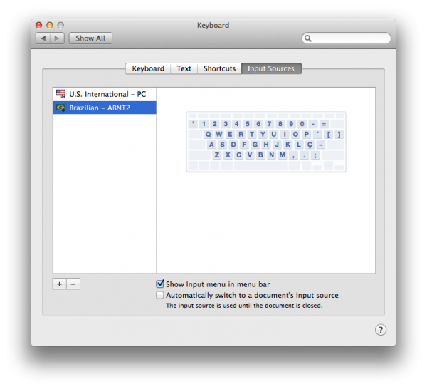 Felizmente, OS X Mavericks tem layout de teclado ABNT2