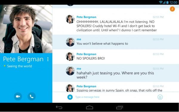 Chat no Skype 4.4 para Android