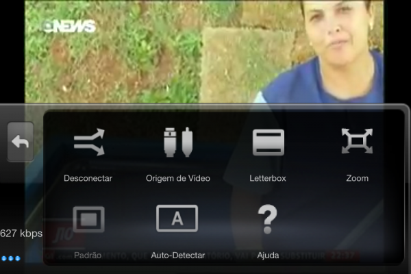 Detalhe do Slingplayer executando vídeo via 3G mostrando a velocidade do stream