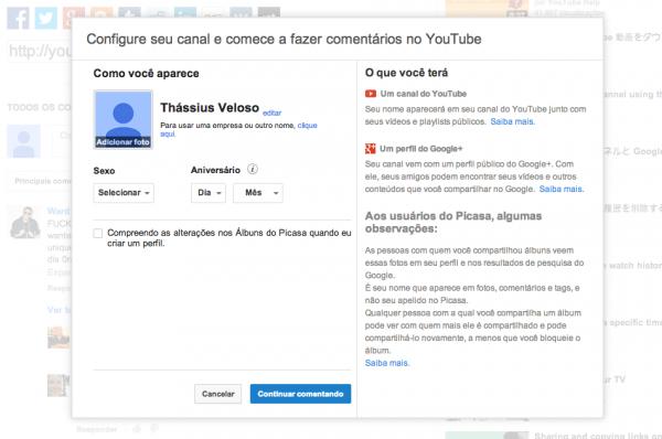 YouTube pede perfil no Google+