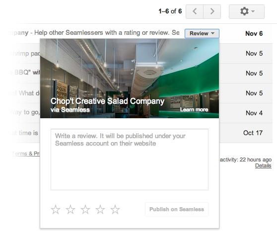 Botão de ação rápida do Gmail