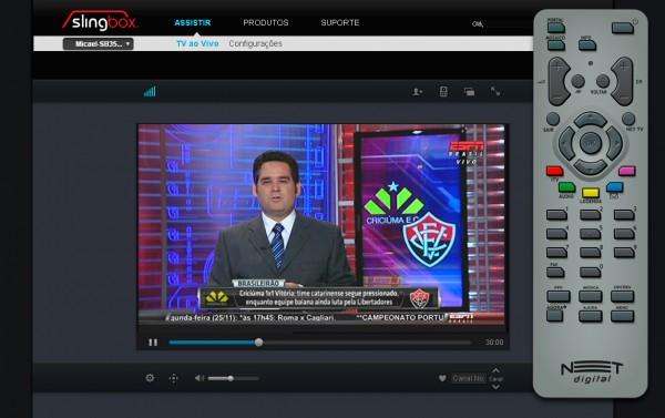 Slingbox visualizado através do player via browser. A barra de progresso permite pausar e voltar o conteúdo transmitido