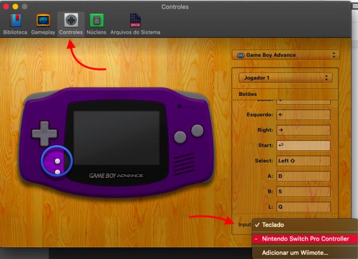 configurar controles no OpenEmu