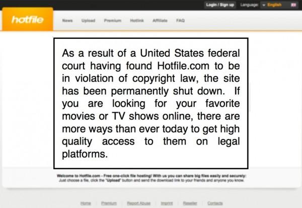 Aviso no site da Hotfile