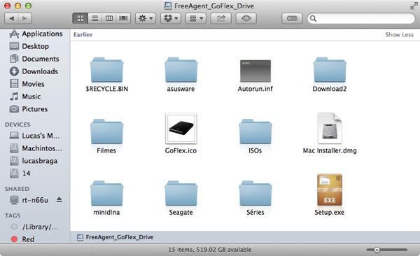 O disco compartilhado foi reconhecido automaticamente pelo meu Mac. Funciona com Windows também!