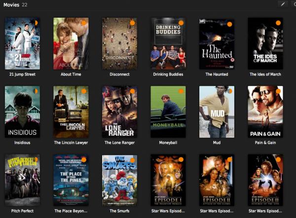 Os filmes e séries ficam com imagem de capa, sinopse, elenco e até legendas