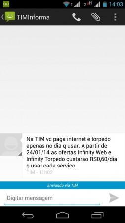 TIM avisa por SMS que aumentará as tarifas (Foto: Edison Luiz)