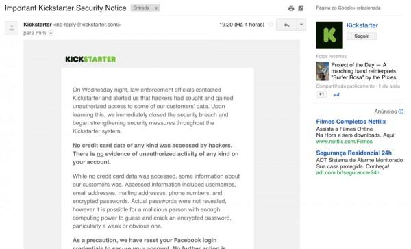 Email avisa sobre invasão