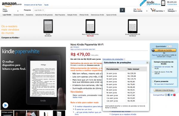 Amazon já aprendeu a vender em 12 suaves prestações sem juros para os brasileiros