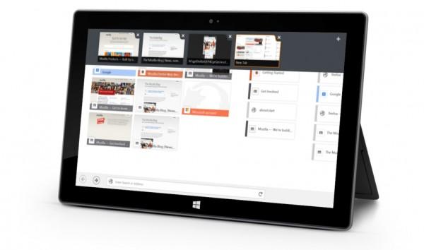 Firefox em tablet com Windows 8