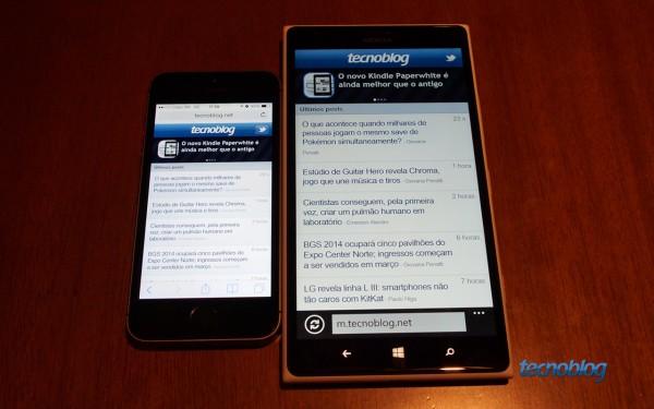 O iPhone 5s e sua tela de 4 polegadas é um mini celular perto do grandalhão Lumia 1520