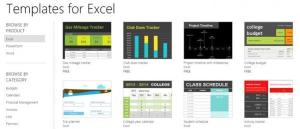 Templates para o Excel Online