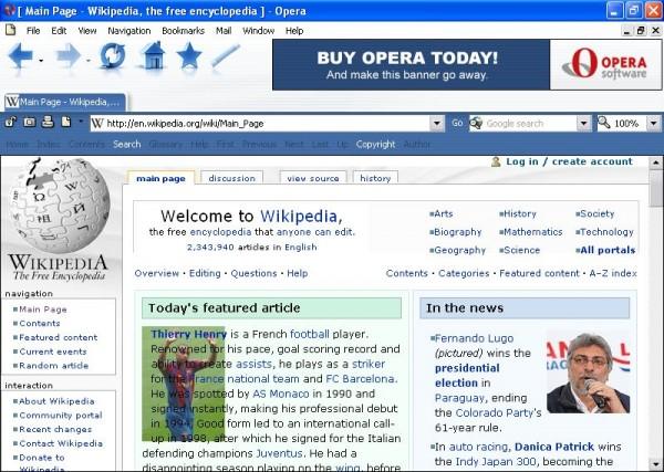Opera 7, a última versão com banner (Fonte: Wikipedia)