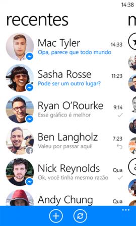 Este é o Facebook Messenger para Windows Phone