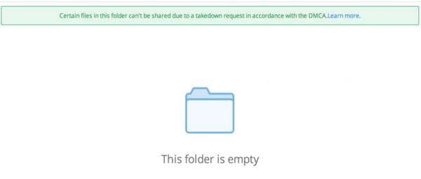 É assim que fica um link bloqueado no Dropbox